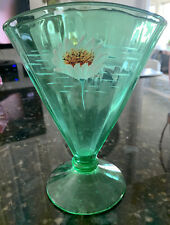 Green Vaseline Uranium Glass ~ Fan Shaped Vase ~ Hand Painted Enamel Water Lily