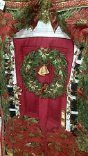 Vivid Christmas Door Quilt Panel, Poinsettas Wreath, Red/Gold Timeless Treasures