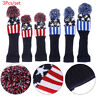 3pcs Knitted Pom Pom Headcover Wool Golf Club Head Cover for Driver Fairway CL
