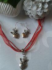 schöne Engel Herz Halskette Organzaband Kette + Ohrringe Silber