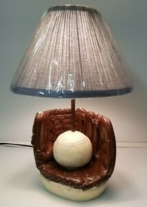 MI) Vintage Chalkware Plaster Baseball Glove Lamp DIY Child Baby Nursery Decor