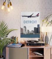 "Delta Airlines Boeing 737 over Detroit art - 18"" x 24"" Poster"