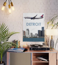 DETROIT VINTAGE TRAVEL POSTER Airline RARE HOT NEW