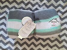 KNITTED BABY BLANKET GREY MINT SWADDLE THROW SOFT NEWBORN GENDER NEUTRAL GIFT