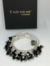Alex And Ani Swarovski Crystal Set Of 5 Hanging Crystals Black With Silver Tone