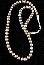 "Native American Navajo Pearls 7mm Sterling Silver Bead Necklace 24"" Sale"