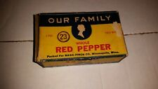 Our Family Red Pepper Spices Cardboard Nash Finch Minneapolis Minn Free Shipping
