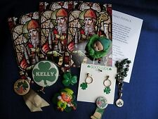 ST PATRICK'S DAY Irish Items Pins Buttons Earrings Bracelet Cards Lot A