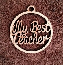 Wooden My Best Teacher Bauble Mdf Christmas Tree Decoration Gift Blank