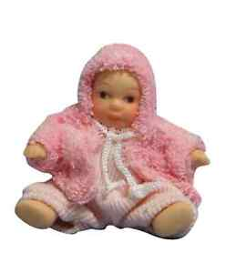 DOLLS HOUSE DOLL 1/12th SCALE MODERN BABY GIRL IN PINK JACKET