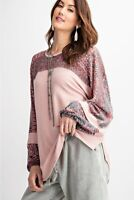 Easel Mauve Mixed Print Long Sleeve Terry Knit Top