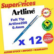 ARTLINE ◉ 200 0.4mm 12 x BLUE FINE FINELINER PEN MARKER◉Fibre TIP EK-200◉COLOURS