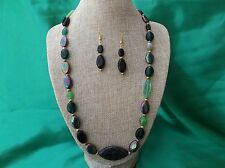 glass necklace and earring set Beautiful shades of green Czech
