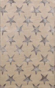 Modern STAR Design BEIGE/ MOCHA Indian Hand-tufted Area Rug Wool Silk Carpet 4x6