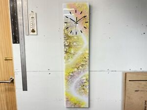 Pale blue, Yellow and Pink Abstract Resin Wall Clock