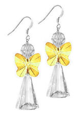STERLING SILVER 925 & SWAROVSKI CRYSTAL EARRING KIT, SUNFLOWER YELLOW, ANGEL
