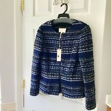 Rebecca Taylor NAVY CAMBO Lurex Tweed Jacket! Size 10! SUPER HOT & CHIC LOOK