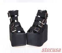 Womens Japen Cosplay Platform High Heels Buckle Strap Gothic Punk Shoes Sandals