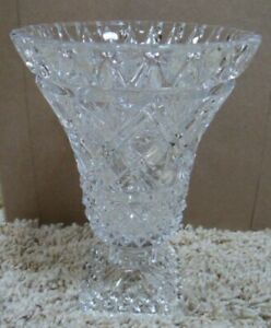 "Large Brilliant Cut Glass Footed 7"" Vase  Lead Crystal"