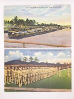 2 Camp Blanding FL WW2 US Military Postcards Posted from Camp 1942 Motor Pool