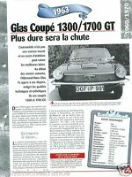 Glas Coupé 1300/1700 GT 4 Cyl. Germany 1963 Car Auto Retro FICHE FRANCE