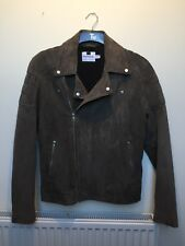 Topman Brown Suede Quilted Shoulder Biker Jacket size Medium RRP$300