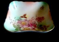 ANTIQUE Porcelain Schumann Arzberg Germany Bavaria Wild Rose Candy Dish Big  7'