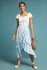 New Anthropologie Ruffled Gingham Wrap Skirt by Lost + Wander $148 X-SMALL Blue