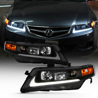 Black 2004-2008 Acura TSX CL9 LED Tube Projector Headlights Headlamps Left+Right