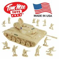 Tim Mee Toy Walker Bulldog Tank Playset- Tan 13pc - Made in USA