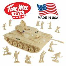 Tim Mee Toy Walker Bulldog Tank Playset- Tan 13pc - Made in USA