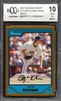 2007 Bowman Draft Gold #BDPP77 Clayton Kershaw Rookie Card Graded BCCG 10