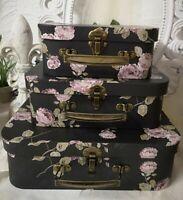 3er Set Koffer Box Kartonage Schachtel Rose Shabby Vintage Deko