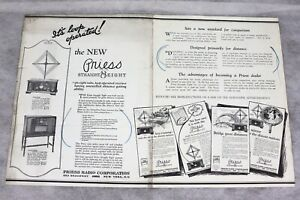 1926 PRIESS STRAIGHT 8 EIGHT RADIO SALES FLYER WITH SEVERAL MODELS & FEATURES