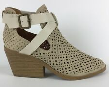 Qupid Ankle Boots Size 8.5 Lazer Cut Criss Cross Buckle