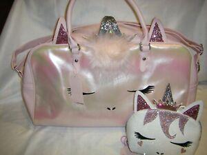 Unicorn Princess Weekender Travel Duffel Bag Metallic Pink & Pouch 2 PIECE SET