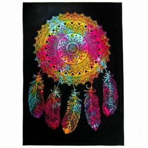 Tapestry Gad Dream Catcher Multi Color Tie Dye Floral Home Decor Wall Hanging