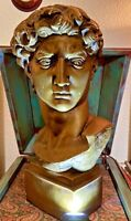 "Vintage Universal Statuary MICHELANGELO BUONARROTI Bust Sculpture 1965 21"""