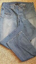 Women's Abercrombie Trouser Button Fly Medium Faded Blue Jeans Size 6 New