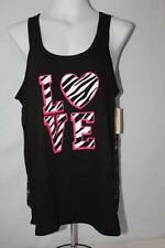 NEW Womens Pajamas Tank Top Size Small Black Lace Back Zebra Love Sleep Shirt PJ