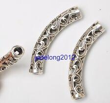 15pcs Tibetan Silver Charms Long Tube Bending Spacer Bead 37mm DIY Jewelry C3364