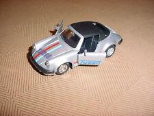 NEW DISPLAY CASE KEPT PORSCHE 911 TURBO SILVER STRIPES SCALE 1/36 ZYMOL WAXED