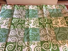Swirls Multiple Green and Off White Fabric Shower Curtain New
