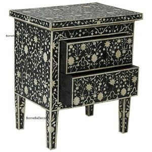 black floral nightstand || luxury table || bed side ||bone inlay furniture