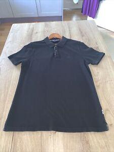 Mens Aquascutum black Polo Shirt Size Large