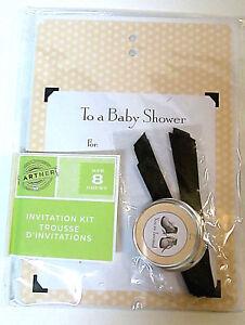 Gartner GENDER NEUTRAL Baby Shower Party Invitation Kit 6 ct Yellow Black  67985