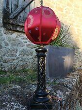 Magnifique lampe chinoise abat jour rouge satin H63cm