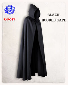 Adult Black Hooded Cape Robe Cloak Vampire Witch Wizard Halloween Costume