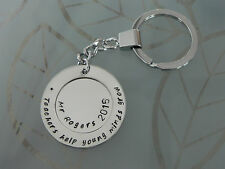 Personalised  Hand Stamped Male Teachers Keyring Any Names or Wording