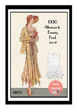 1930s Afternoon to Evening Frock Sewing Pattern - Reproduction